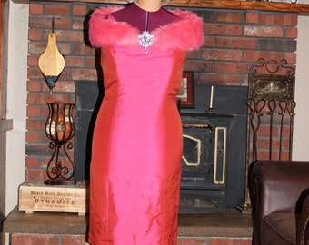 Marilyn Monroe Dress and Wig, Diamonds are a Girl's Best Friend, Prom or Party Dress, Hot Pink Silk Dress, Fur, Brooch Pin and Wig, Size 10