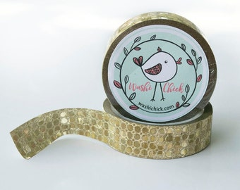Gold Washi Tape - 1 roll, 15mm x 10m, shiny sequin-like surface, gold glitter tape, shiny washi tape