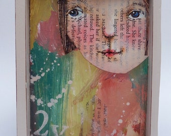 Mixed media original collage painting
