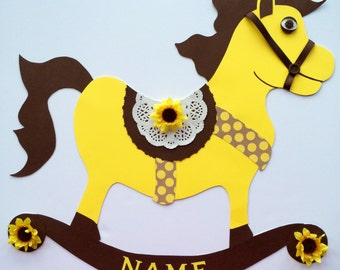 Rocking horse, Party Decoration, Baby Shower Decor, Sunflower, Customized, Personalized, Birthday, Neutral, for Wall/Door