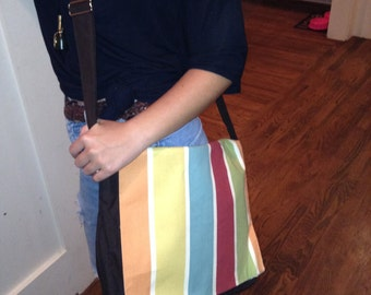 Homemade Striped Messenger Bag Backpack