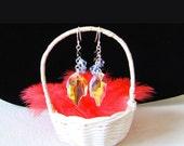 Boucles d'oreilles feuilles en cristal Swarovski bleues et noir Edelweiss