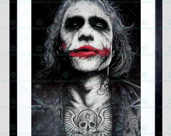 Batman Joker Heath Ledger Tattoo Inked Framed Art Print By W.Maguire F12X10591