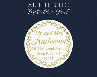 Gold Foil Address Label, Custom Address Label, Address Sticker, Gold Foil, Gold Foil Sticker, Gold Return Address, Wreath