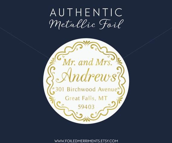 Gold Foil Address Label Custom Address Label Address - Custom gold foil stickers