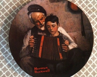 Vintage norman rockwell plates - the music maker - heritage collection - knowles fine china - rockwell society of america
