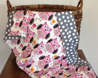 100% cotton owl baby blanket, grey polka dot baby blanket, pink receiving blanket