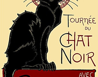 Chat Noir  by Steinlen vintage Poster print on Paper or Canvas Giclee 13X18 to 44X60