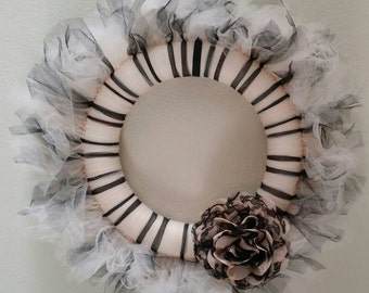 Black and Beige Tulle Wreath
