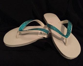 Beautiful Bling Flip Flops - Women's size 8/9
