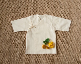 Swaddling baby top organic unbleached 100% cotton MUSLIN GOTS certified / baby Kimono / summer Recommended