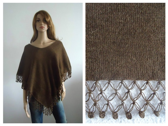 Brown Wool knit poncho cape sweater warm knits Hand knitted poncho ready to ship wrap knitted jumper 100% handmade Women clothing