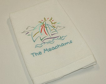 Personalized Nautical Themed Sail Boat Premium Velour Hand Towel