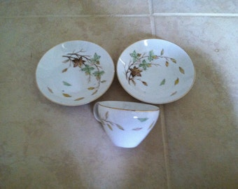 Halsey fine china swirling leaves