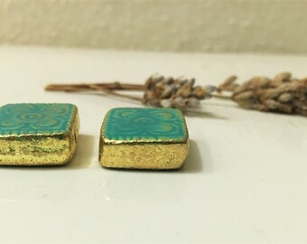 ONE PAIR LEFT: Turquoise and Gold Bali Square Earrings