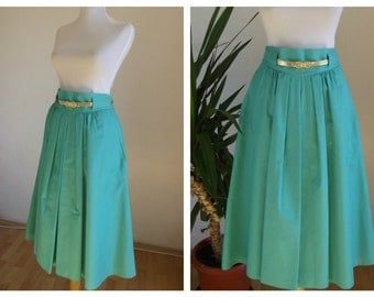 1970s Vintage skirt / cotton 70s skirt. Size Medium.