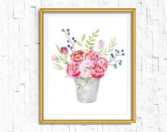Instant Download Printable Floral Vase Print | Shabby Chic Vintage Flower Print | Boho Garden Watercolor Home Decor Nursery Rustic