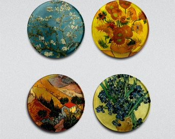 Van Gogh Paintings  1 inch Badges/Magnets/Glass Cabochon Vintage pinback  buttons set of 4