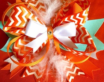Stacked Hair Bow orange/turquoise