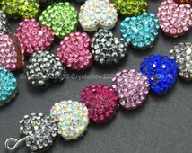 YOU PICK Color - 5/10pcs Top Quality Czech Crystal Rhinestones Pave Heart Bracelet Connector Charm Beads