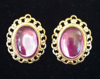 Beautiful vintage purple stone gold clip earrings, free shipping