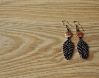 Handmade leaf shape macrame earrings