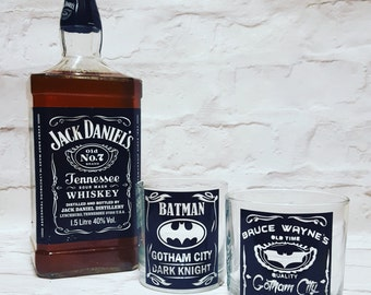 Bruce Wayne  and Batman Whiskey Glasses