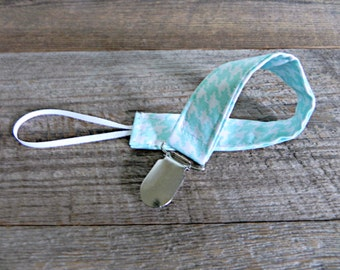 Gender Neutral Pacifier Clip, Aqua and White Houndstooth, Binky Clip