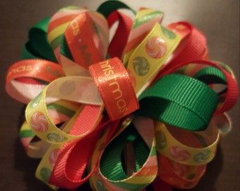 Girls Christmas/Striped/Peppermint Loopy Puff Hairbow