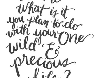 """Hand lettering print- """"tell me what is it you plan to do with your one wild & precious life?"""" - Mary Oliver"""