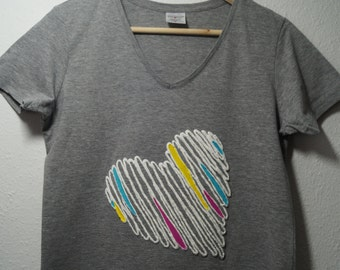 T-shirt with colorful heart (3D effect)