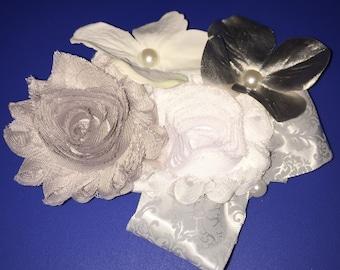 Silver & White Rose Hair Clip