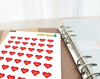 Heart pixel sticker planner stickers special day can mark by sticker cute planner accessories functional planner stickers