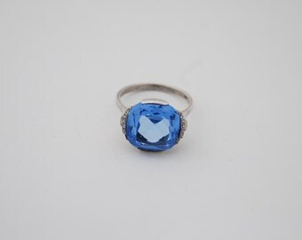 Vintage Art Deco Silver Topaz Ring