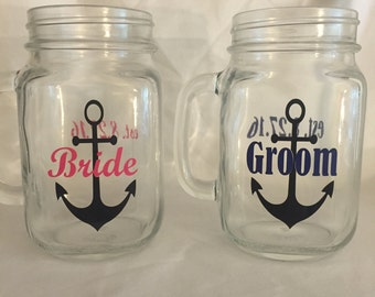 Bride's Mason Jar Mug with Handle