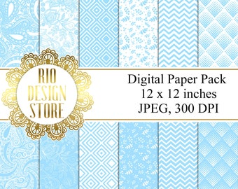 Digital Paper Pack, Background, Baby Boy, Instant Download