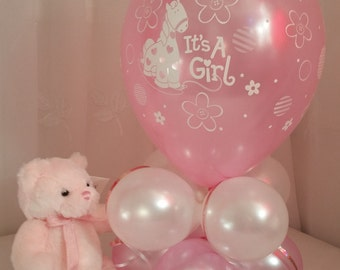 """Birth Announcement """"It's A Girl""""  Balloon Table Decoration AIR ONLY Easy DIY 22"""" Tall"""