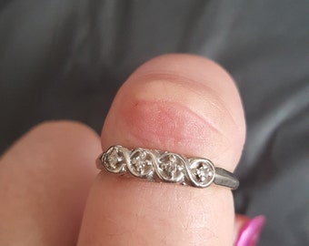 14k white gold band with diamond accents