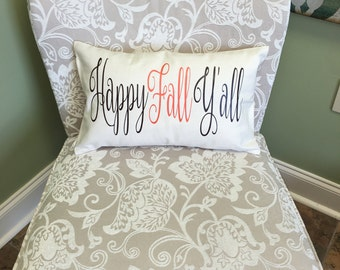 Happy Fall Y'all Pillow, Be Thankful Pillow, Thanksgiving Pillow, Throw Pillow, Decorative Pillow, Give Thanks