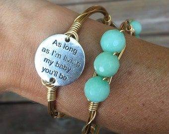 Love You Forever Bangle, Stack Set, Mint Facet Beads