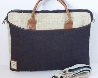 "Laptop Bag 15"" Side Bag Briefcase Organic Hemp Natural Leather Stylish Fashion"
