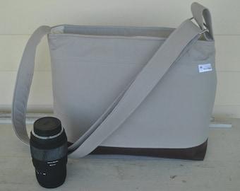 DSLR padded camera bag grey, cross body strap,2 handles, photography bag, wedding photography, travel camera bag,camera built in insert