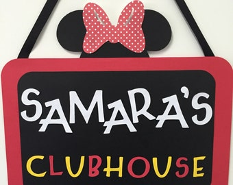 Minnie Mouse Clubhouse Birthday Party Bedroom Door Sign