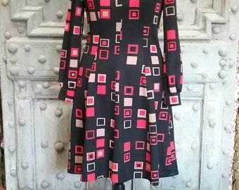 Black abstract 1960s mod dress