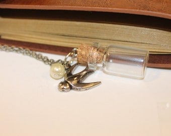 Glass Vial with Bird Charm