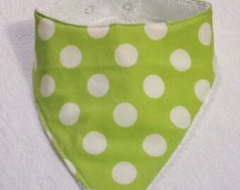 Bandana Bib - Lime Green & White Spots