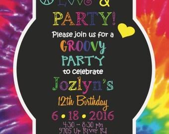 Tie Dye Birthday Invitation| Birthday Party Invitation| Kids Invitation