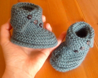 Hand-knitted wool baby booties