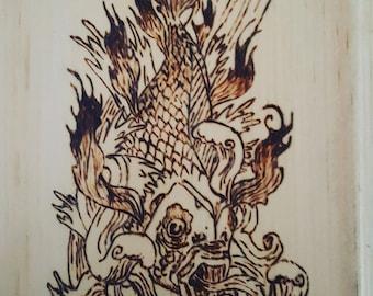 Pyrography - Tattoo inspired Koi