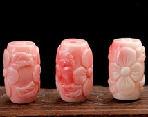2pcs 10mm x 15mm Carved  Coral Pink Beads, Carved Flower Barrel Beads, Loose Beads,  synthetic stone Wholesale, Semi Precious Beads
